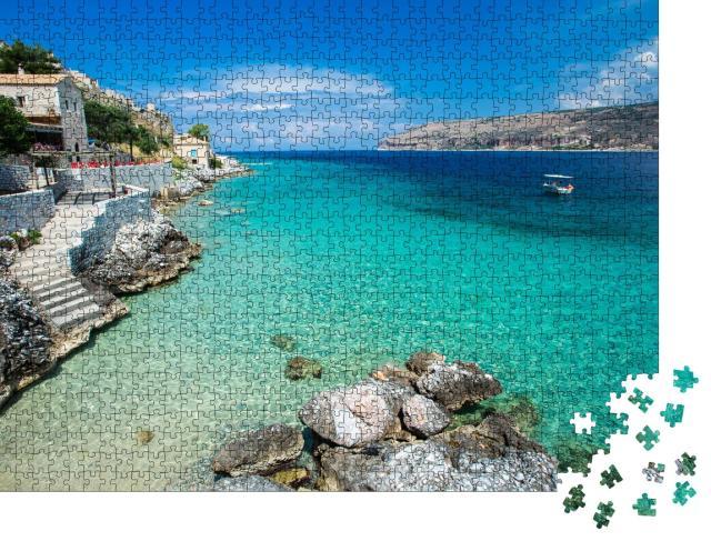 """Puzzle 1000 Teile """"Türkisfarbenes Wasser des Mittelmeers, Limeni, Griechenland"""""""