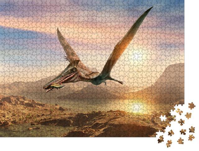 """Puzzle 1000 Teile """"Pterosaurier-Szene, 3D-Illustration"""""""