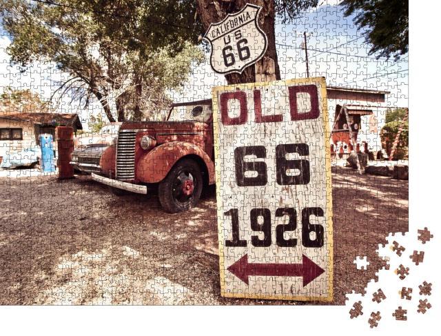 """Puzzle 1000 Teile """"Rostige Autos und Schilder mit Route 66"""""""