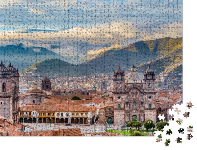 """Puzzle 1000 Teile """"Morgensonne auf der Plaza de armas, Cusco, Stadt"""""""