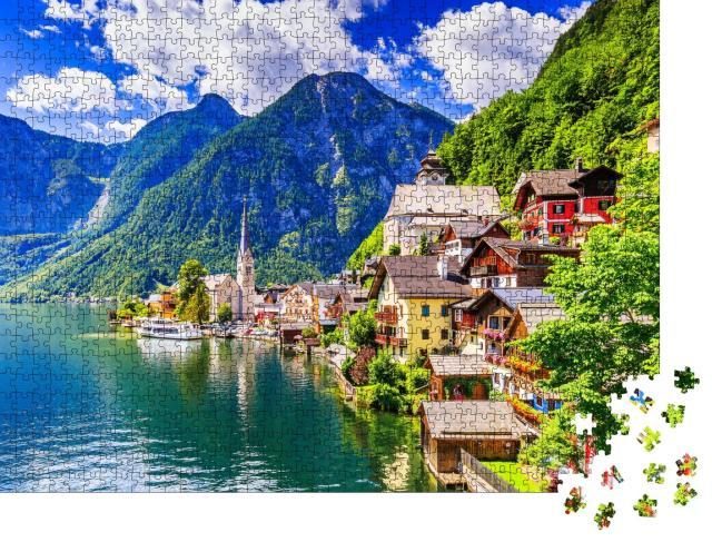 """Puzzle 1000 Teile """"Hallstatt, Österreich: Bergdorf in den Alpen"""""""