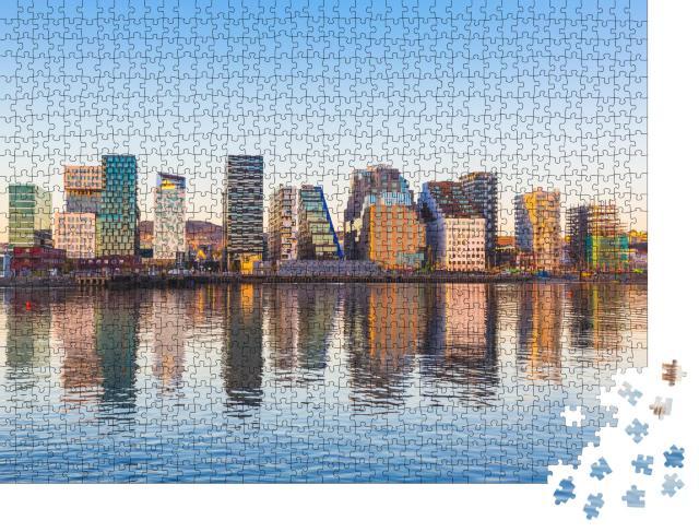 """Puzzle 1000 Teile """"Moderne Architektur: Oslo spiegelt sich im Wasser"""""""