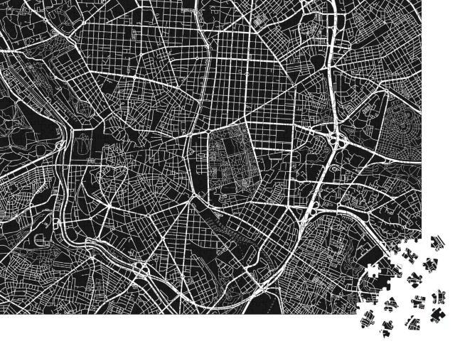 """Puzzle 1000 Teile """"Vektor-Stadtplan von Madrid, Schwarz-Weiß-Darstellung"""""""