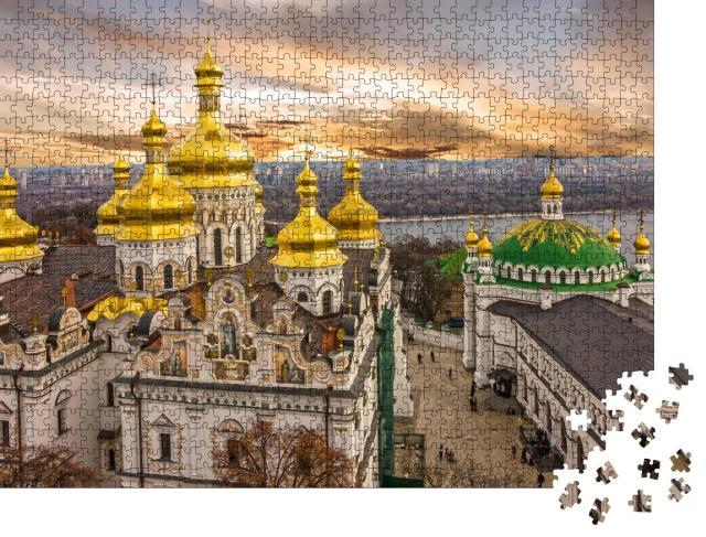 """Puzzle 1000 Teile """"Kuppeln des Klosters Pechersk Lavra am Dnepr, Ukraine"""""""
