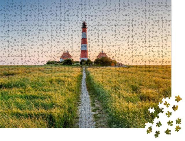 """Puzzle 1000 Teile """"Leuchtturm von Westerheversand, Nordfriesland"""""""