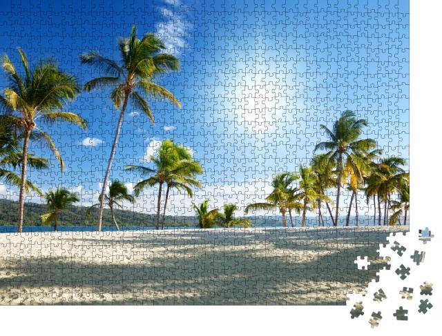 """Puzzle 1000 Teile """"Karibisches Meer und Palmen"""""""