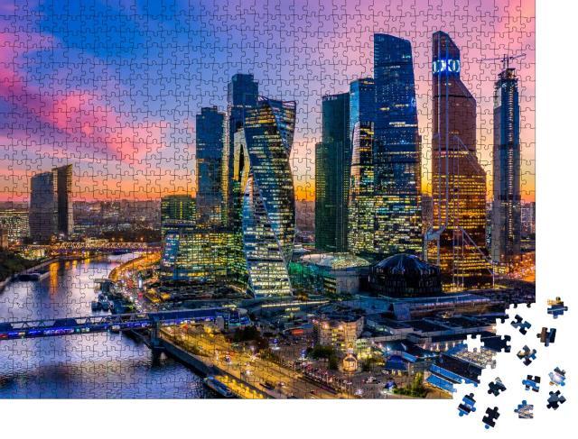 """Puzzle 1000 Teile """"Luftbild von Moskau City mit Wolkenkratzern und Skyline, Russland"""""""