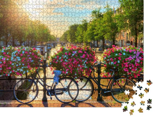 """Puzzle 1000 Teile """"Grachten in Amsterdam, UNESCO-Welkulturerbe, Niederlande"""""""