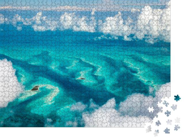 """Puzzle 1000 Teile """"Meerlandschaft über den Bahamas von oben"""""""
