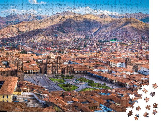 """Puzzle 1000 Teile """"Panoramablick auf das historische Zentrum von Cusco, Peru"""""""