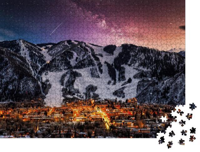 """Puzzle 1000 Teile """"Skyline der Stadt Aspen mit Milchstraße"""""""