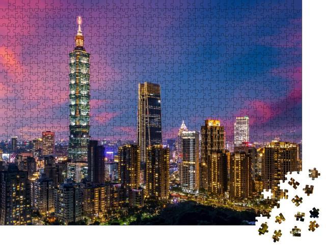 """Puzzle 1000 Teile """"Skyline und Wolkenkratzer von Taipei in Taiwan, dem beliebten Touristenziel"""""""