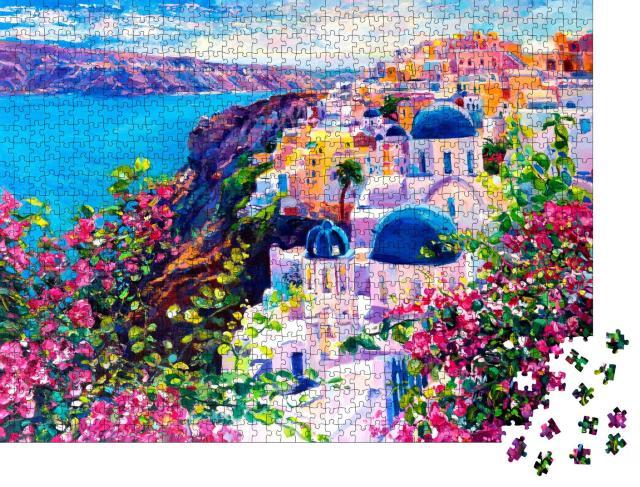 """Puzzle 1000 Teile """"Santorini: schönes Ölgemälde der Meereslandschaft"""""""