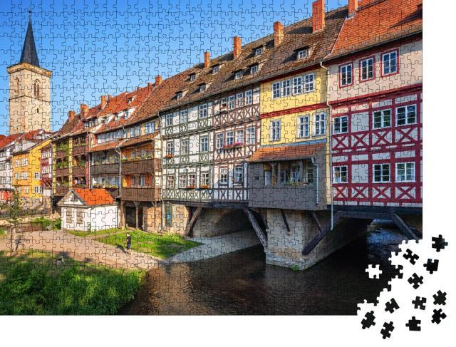 """Puzzle 1000 Teile """"Panoramablick der Altstadt von Erfurt mit Krämerbrücke, Thüringen, Deutschland"""""""