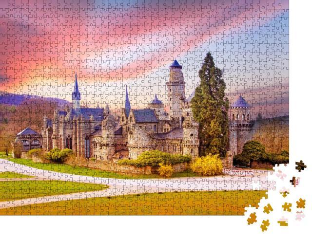 """Puzzle 1000 Teile """"Landschaft mit mittelalterlicher Löwenburg im Schlosspark Wilhelmshöhe, Kassel"""""""