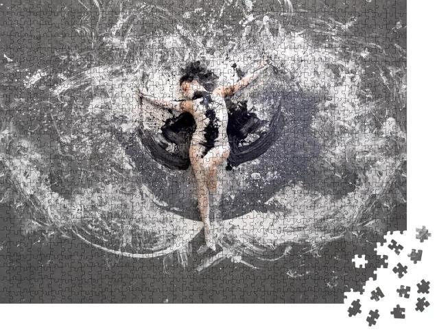 """Puzzle 1000 Teile """"Körperkunst: Frau in schwarz-weiß"""""""