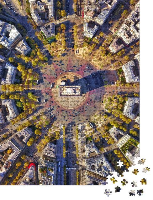 """Puzzle 1000 Teile """"Perfekte Luftaufnahme des Arc de Triomphe"""""""