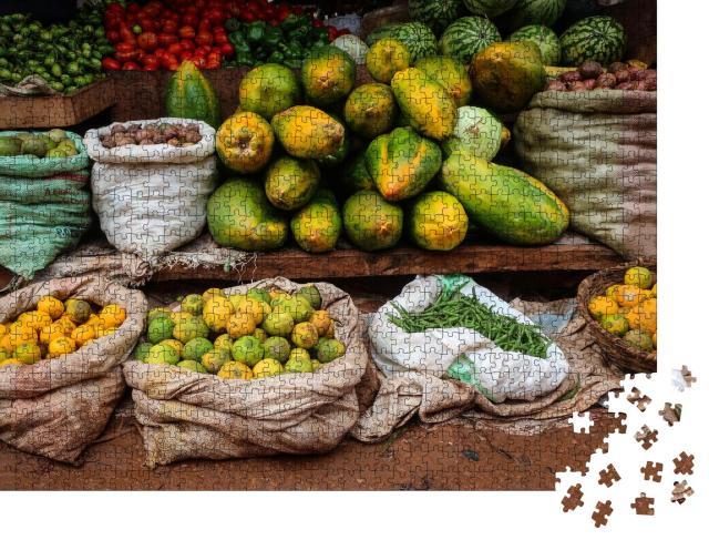 """Puzzle 1000 Teile """"Traditioneller Landmarkt mit Fisch und Matoke, Masaka, Uganda"""""""
