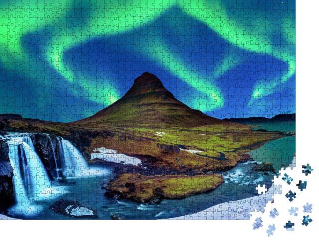 """Puzzle 1000 Teile """"Nordlicht, Aurora borealis bei Kirkjufell in Island"""""""