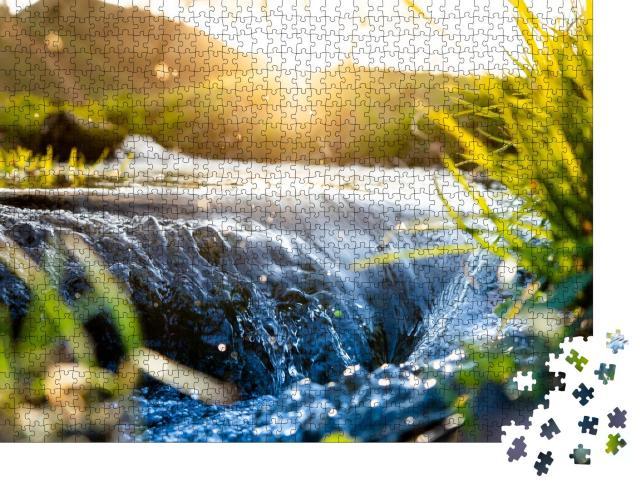 """Puzzle 1000 Teile """"Plätschernde Quelle, Wasserlauf, Gräser, unscharfer Hintergrund"""""""