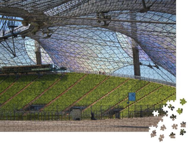 """Puzzle 1000 Teile """"Sitzreihen und Überdachung des Olympiastadions München"""""""