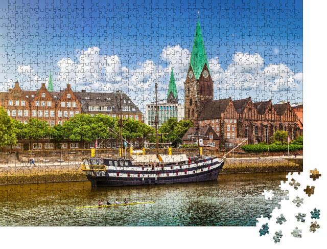 """Puzzle 1000 Teile """"Historische Stadt Bremen an der Weser, Deutschland"""""""