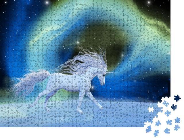 """Puzzle 1000 Teile """"Digitale Kunst: Mystisches Einhorn in einem Universum aus Aurora-Nebel"""""""
