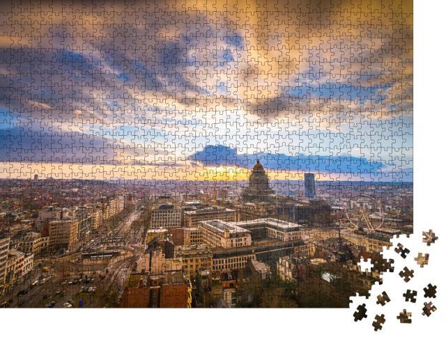 """Puzzle 1000 Teile """"Brüssel am Palais de Justice in der Abenddämmerung"""""""