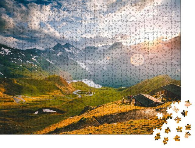 """Puzzle 1000 Teile """"Luftaufnahme einer kurvigen Straße am Großglockner, Salzburg, Österreich"""""""