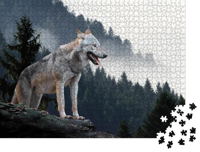 "Puzzle 1000 Teile ""Timberwolf im Gebirge"""