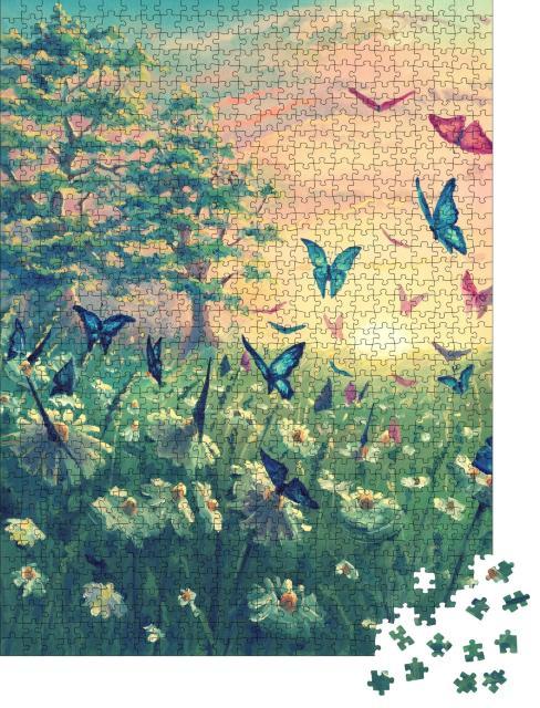 """Puzzle 1000 Teile """"Ölgemälde: Sonnenuntergang mit Schmetterlingen"""""""