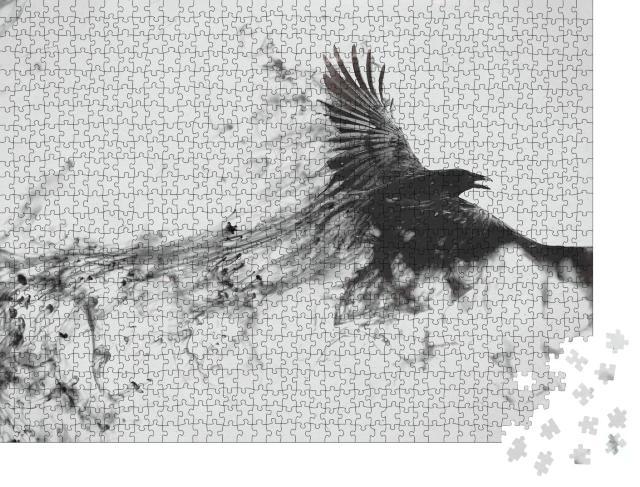 """Puzzle 1000 Teile """"Digitale Kunst: Der Flug eines schwarzen Raben"""""""