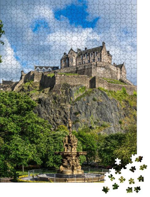 """Puzzle 1000 Teile """"Edinburgh Castle, Schottland, von den Princes Street Gardens aus"""""""