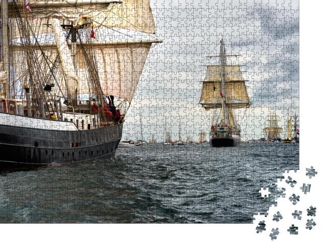 """Puzzle 1000 Teile """"Beeindruckende Segelschiff-Regatta"""""""
