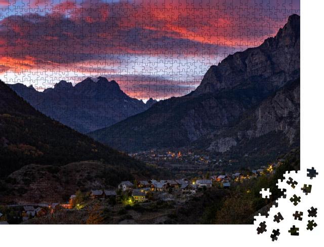 """Puzzle 1000 Teile """"Sonnenuntergang über dem Mont Pelvoux, Nationalparks Ecrins, Französische Alpen"""""""