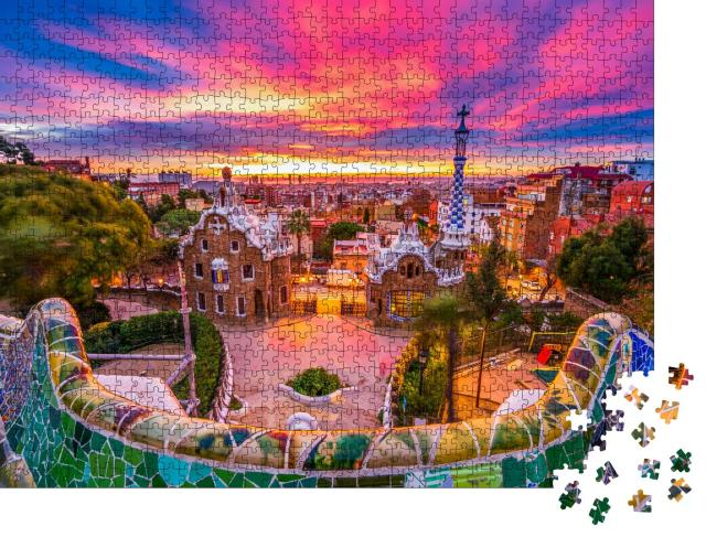 "Puzzle 1000 Teile ""Sonnenaufgang über dem Park Güell, UNESCO-Weltkulturerbe, Barcelona, Spanien"""