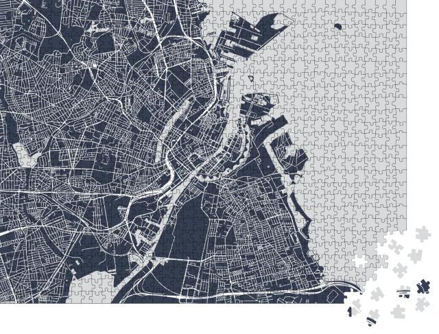 """Puzzle 1000 Teile """"Vektor-Karte der Stadt Kopenhagen, Dänemark"""""""