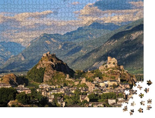 """Puzzle 1000 Teile """"Die mittelalterlichen Schlösser Valere und Tourbillon, Schweiz"""""""