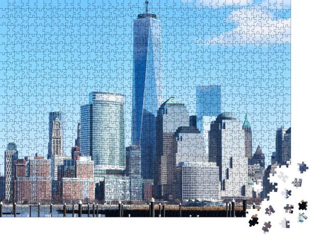 """Puzzle 1000 Teile """"Skyline von Manhattan mit dem One World Trade Center Tower"""""""