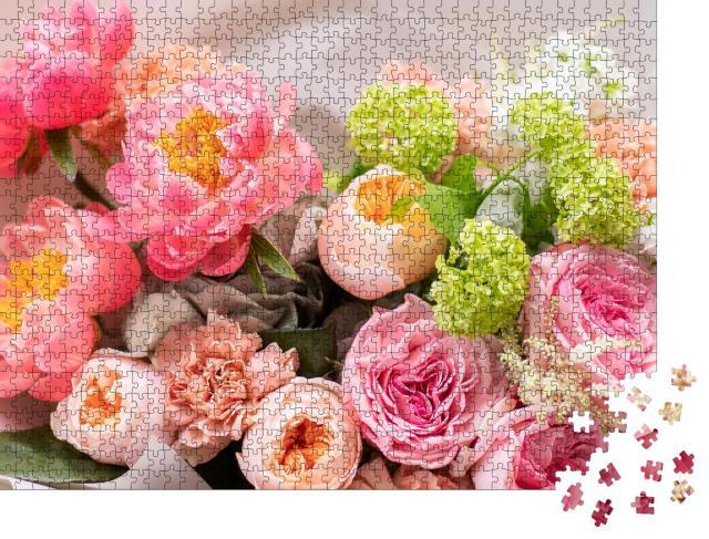 """Puzzle 1000 Teile """"Blumenladen: schöner Strauß gemischter Blumen"""""""