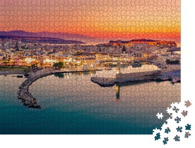 """Puzzle 1000 Teile """"Der alte venezianische Hafen von Rethymno Stadt, Insel Kreta, Griechenland"""""""