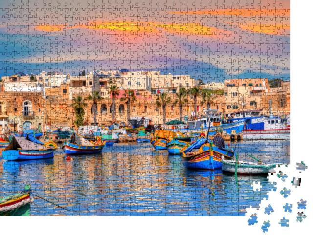 """Puzzle 1000 Teile """"Traditionelle Häuser und Boote im Stadthafen von Marsaxlokk auf Malta"""""""