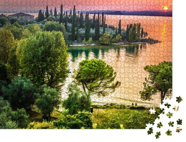 """Puzzle 1000 Teile """"Romantische Sonnenuntergang über dem Gardasee, Italien"""""""