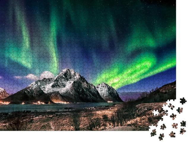 """Puzzle 1000 Teile """"Landschaft der Lofoten: Besuch im Winter mit Polarlicht, Norwegen"""""""
