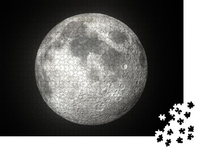 """Puzzle 1000 Teile """"Leuchtender Mond vor schwarzem Hintergrund"""""""