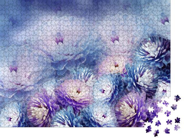 """Puzzle 1000 Teile """"Chrysantheme auf violettem Hintergrund"""""""