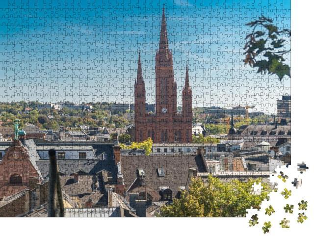 """Puzzle 1000 Teile """"Altstadt und Marktkirche von Wiesbaden"""""""