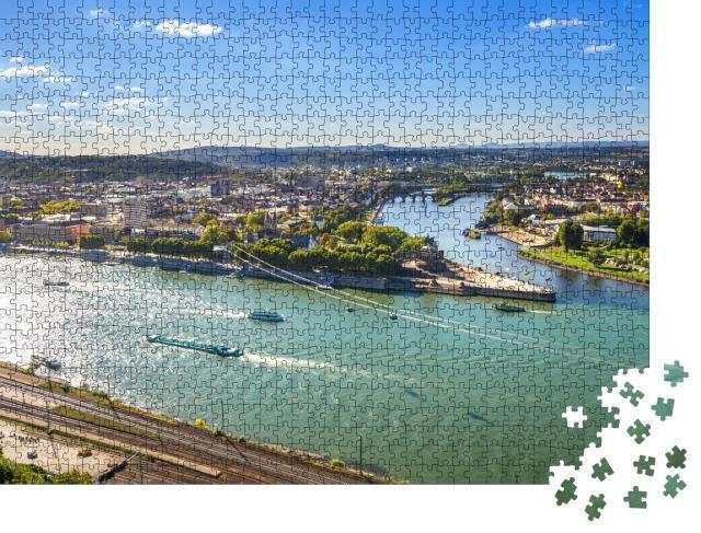 """Puzzle 1000 Teile """"Koblenz, Deutsches Eck: Rhein und Mosel"""""""