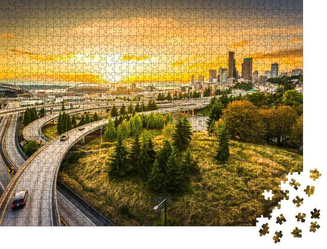 """Puzzle 1000 Teile """"Interstate-Autobahnen nach Seattle, Washington, USA"""""""