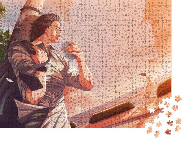 """Puzzle 1000 Teile """"Lässiger Anime von einem Mann, Mittagspause vom Büro"""""""